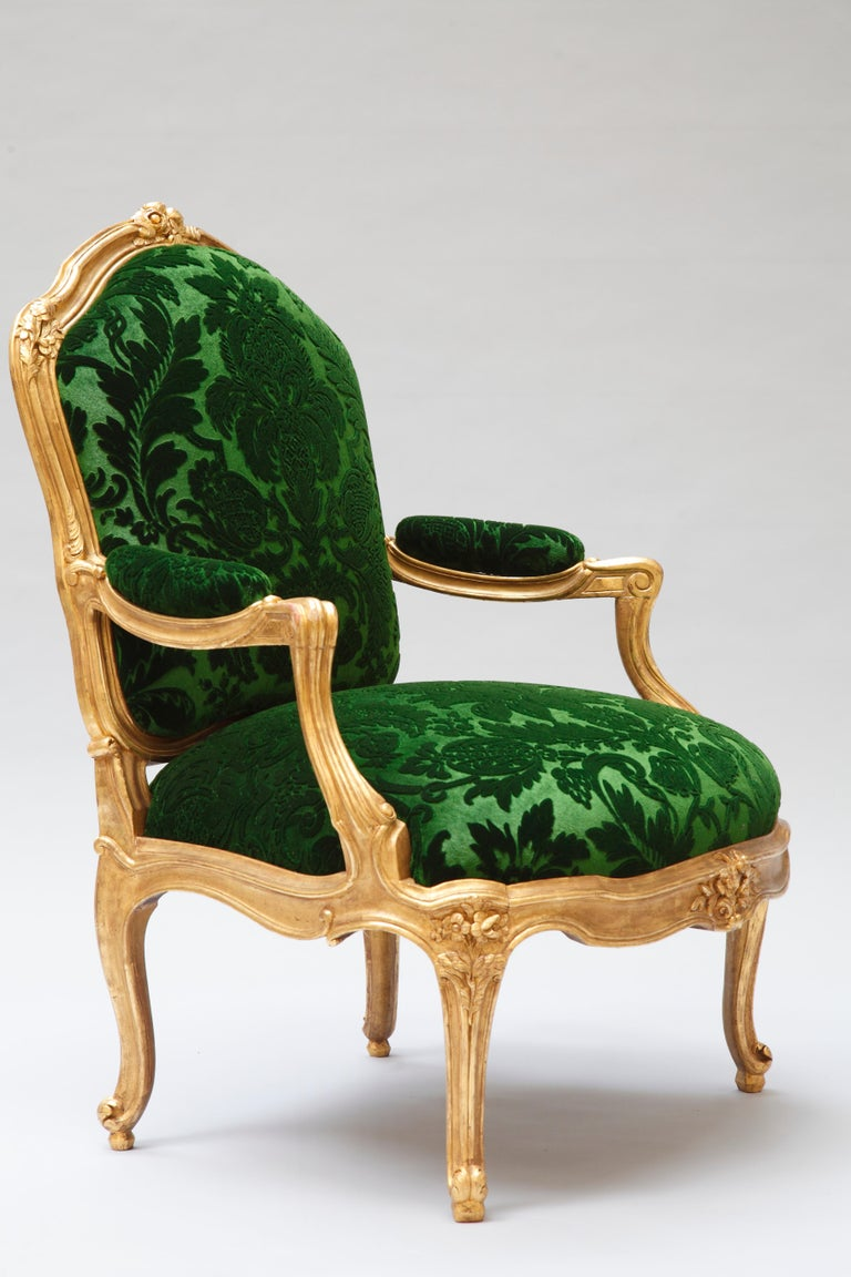 """Elegant Set of Four Armchairs """"à chassis"""" after M. Gourdin ..."""