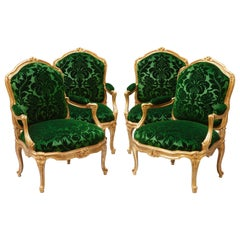 "Elegant Set of Four Armchairs ""à chassis"" after M. Gourdin"