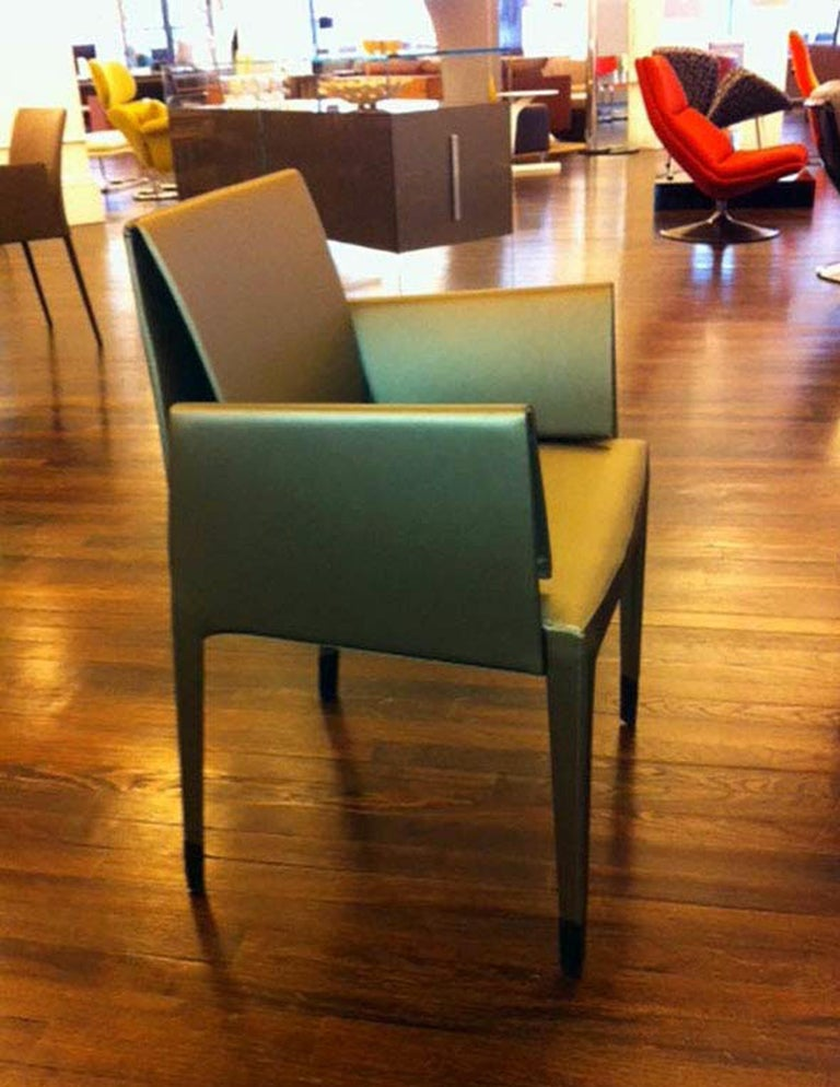 Faux Leather Elegant Set of Four Mari Chairs For Sale