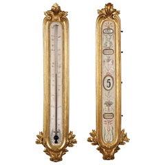 Elegant Set of Gilded Wood & Metal Thermometer & Perpetual Calendar by Linke