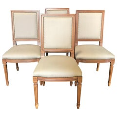 Elegant Set of Louis XVI Style Walnut and Upholstered Dining Chairs