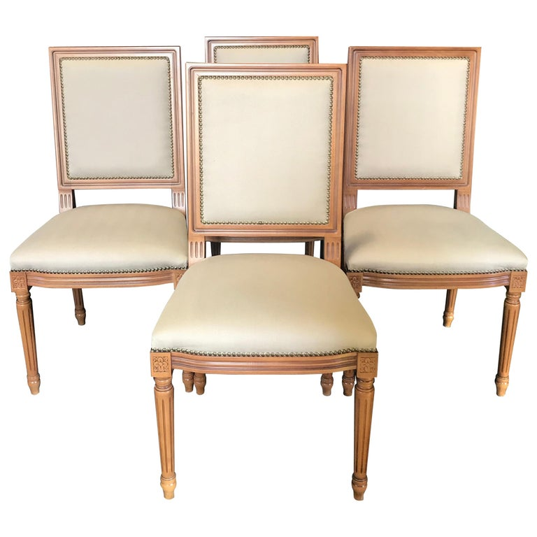Elegant Set of Louis XVI Style Walnut and Upholstered Dining Chairs For Sale