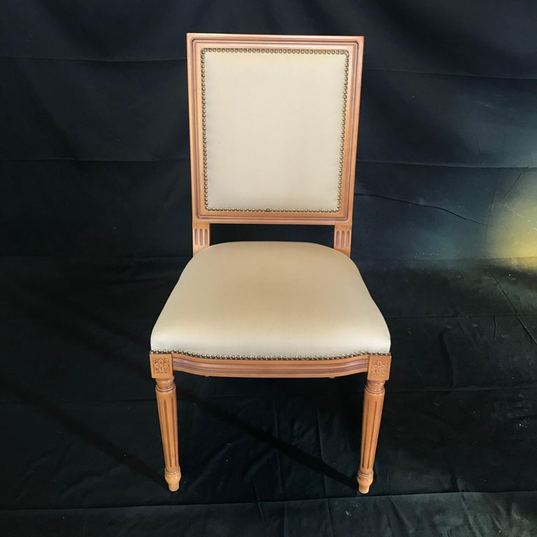 Elegant Set of Louis XVI Style Walnut and Upholstered Dining Chairs For Sale 5
