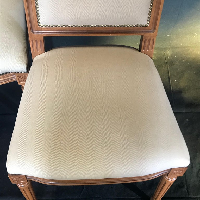 Elegant Set of Louis XVI Style Walnut and Upholstered Dining Chairs For Sale 6