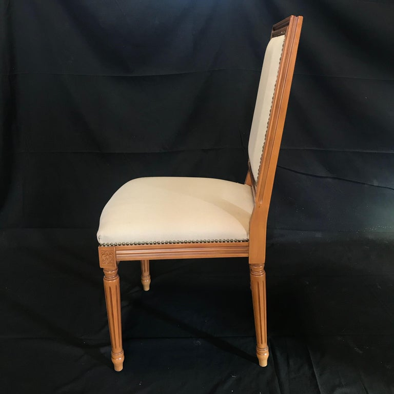 Elegant Set of Louis XVI Style Walnut and Upholstered Dining Chairs For Sale 7