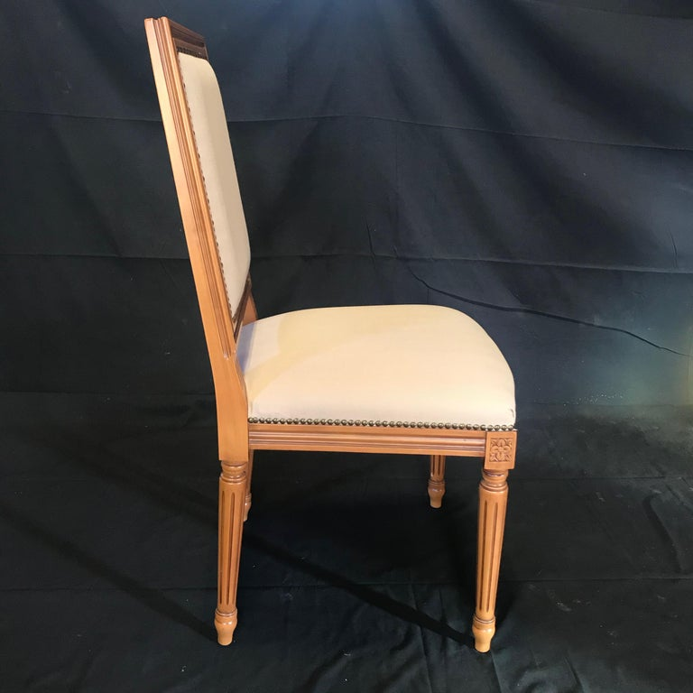 Upholstery Elegant Set of Louis XVI Style Walnut and Upholstered Dining Chairs For Sale