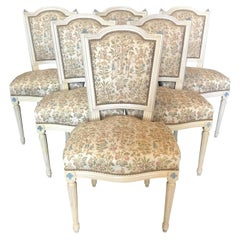 Elegant Set of Six Louis XVI Dining Chairs with Exquisite Tapestry