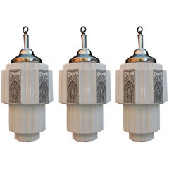 Elegant Set of Three Art Deco Lights 'Price for One' ( one is sold )