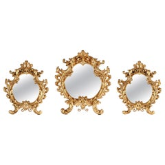 Elegant Set of Three Gilded Bronze Mirrors