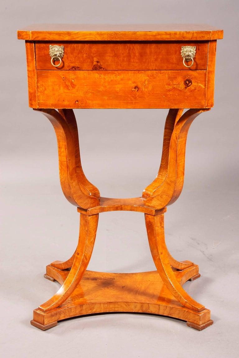 German Elegant Sewing Table in Biedermeier Style For Sale