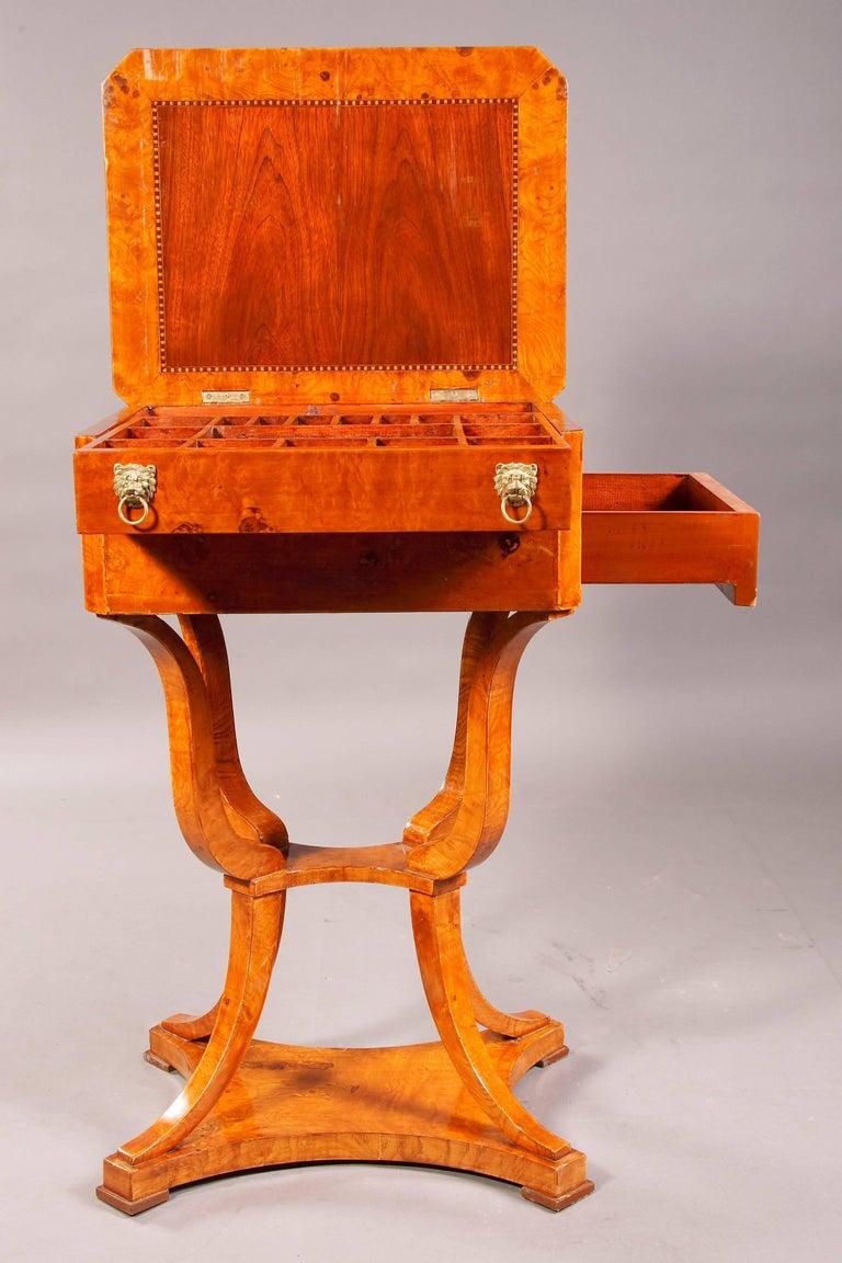 Veneer Elegant Sewing Table in Biedermeier Style For Sale