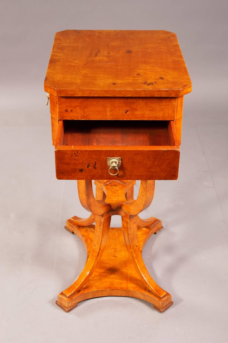Maple Elegant Sewing Table in Biedermeier Style For Sale