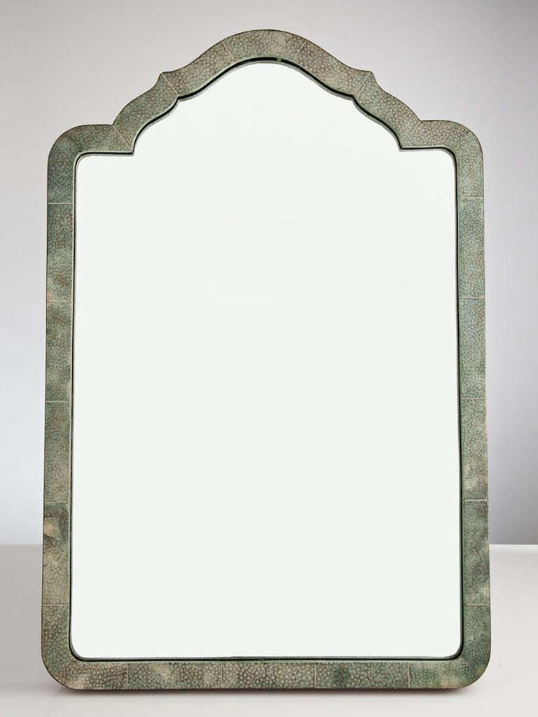 British Elegant Shagreen French Art Deco Table Mirror, circa 1930 For Sale