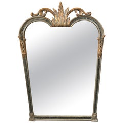 Elegant Silver & Gold Leaf Carved Wood Vertical Mirror