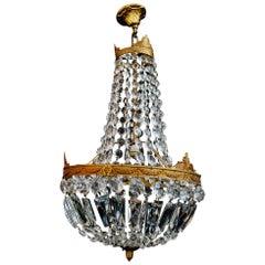 Elegant Small 1940's Italian Crystal Light