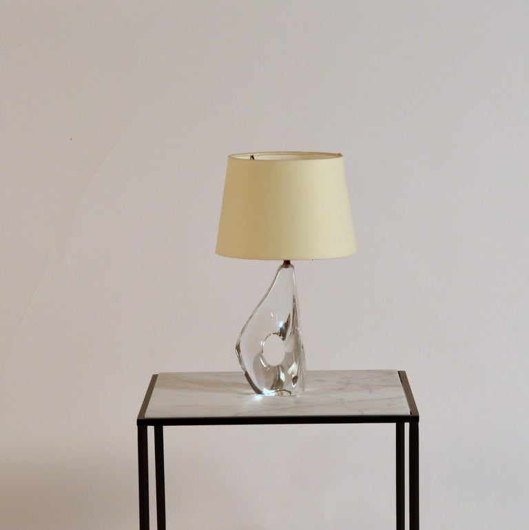 Elegant small freeform crystal and parchment table lamp by Daum.  Chic design with new European style shade (no harp).  Etched
