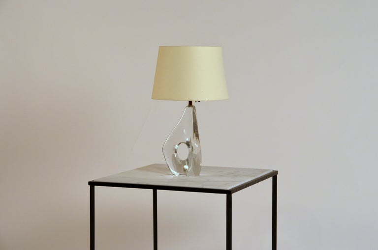 Organic Modern Elegant Small Freeform Crystal and Parchment Table Lamp by Daum For Sale