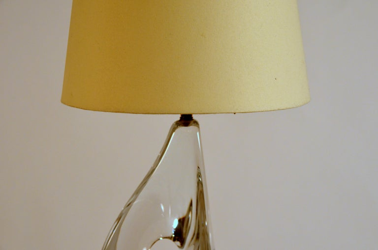 Polished Elegant Small Freeform Crystal and Parchment Table Lamp by Daum For Sale