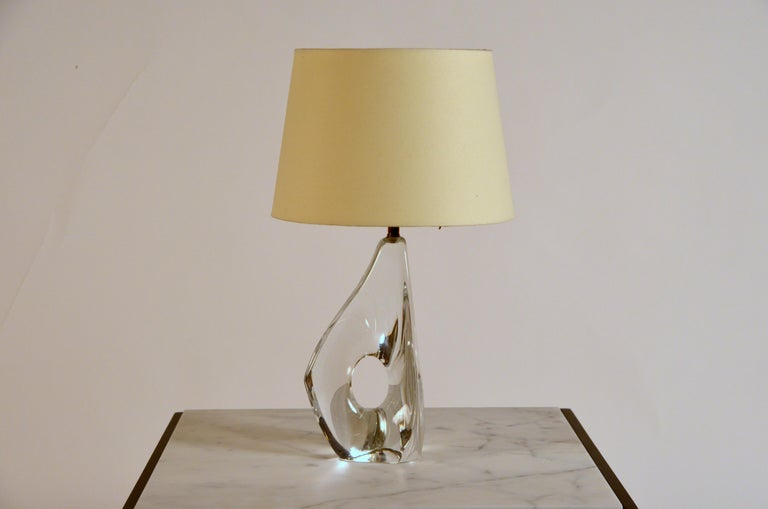 Elegant Small Freeform Crystal and Parchment Table Lamp by Daum For Sale 2