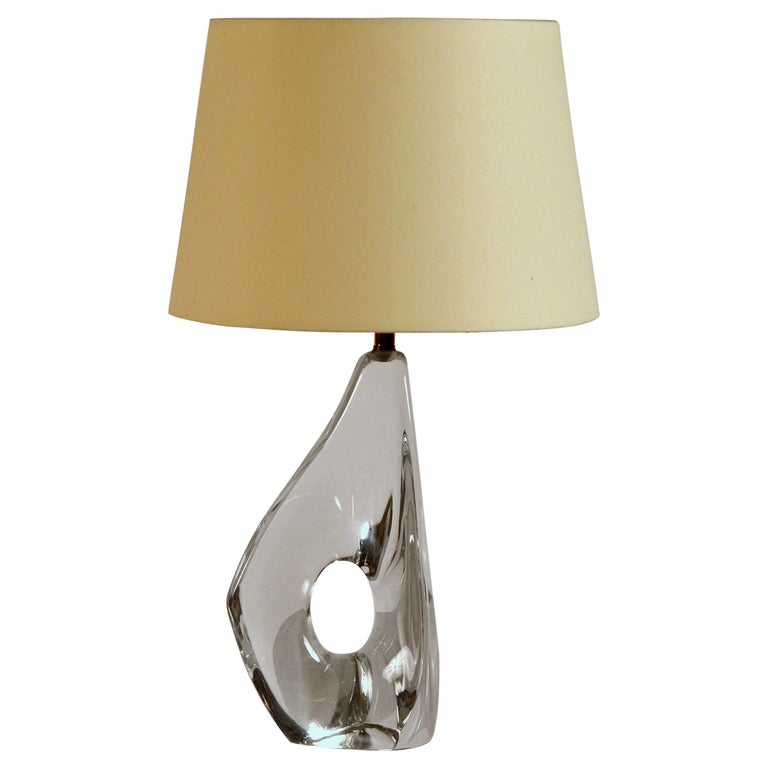 Elegant Small Freeform Crystal and Parchment Table Lamp by Daum For Sale