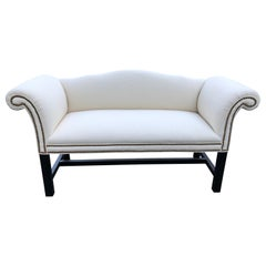 Elegant Small White Camelback Loveseat with Nailheads