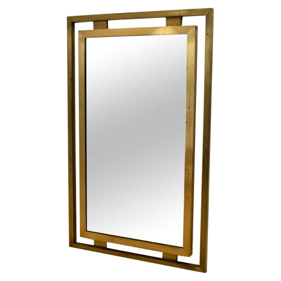 Elegant Solid Brass Mirror by Guy Lefevre for Maison Jansen, 1970s