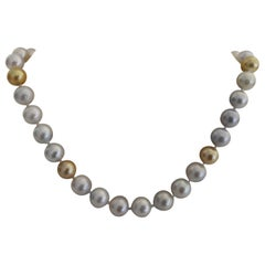 Elegant South Sea Pearl Necklace with High Luster, 18 Karat Gold