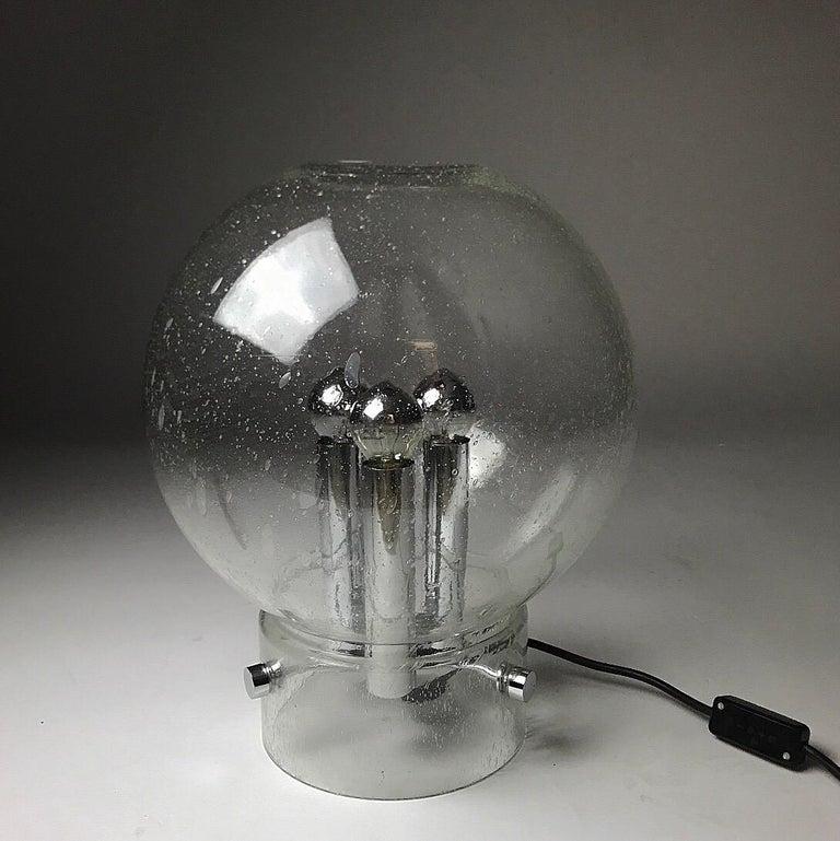 Art Glass Elegant Space Age Hand Blown Table Lamp by Glashütte Limburg, Germany, 1970s For Sale