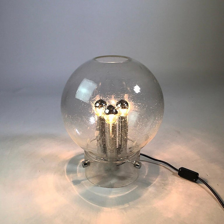 Elegant Space Age Hand Blown Table Lamp by Glashütte Limburg, Germany, 1970s For Sale 1