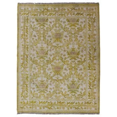 Elegant Spanish Rug with Floral Design in Golden-Green, Acid Green and White