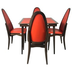 Elegant Stylized Folding Table and Chairs Mfg. by Stakmore Furniture Co.