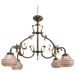 Elegant & Super Stylish Electrified Bronze and Brass Art Nouveau Gas Chandelier