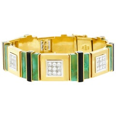 Elegant Swiss Modern Diamond, Jade, and Onyx Gold Bracelet by Paul Binder
