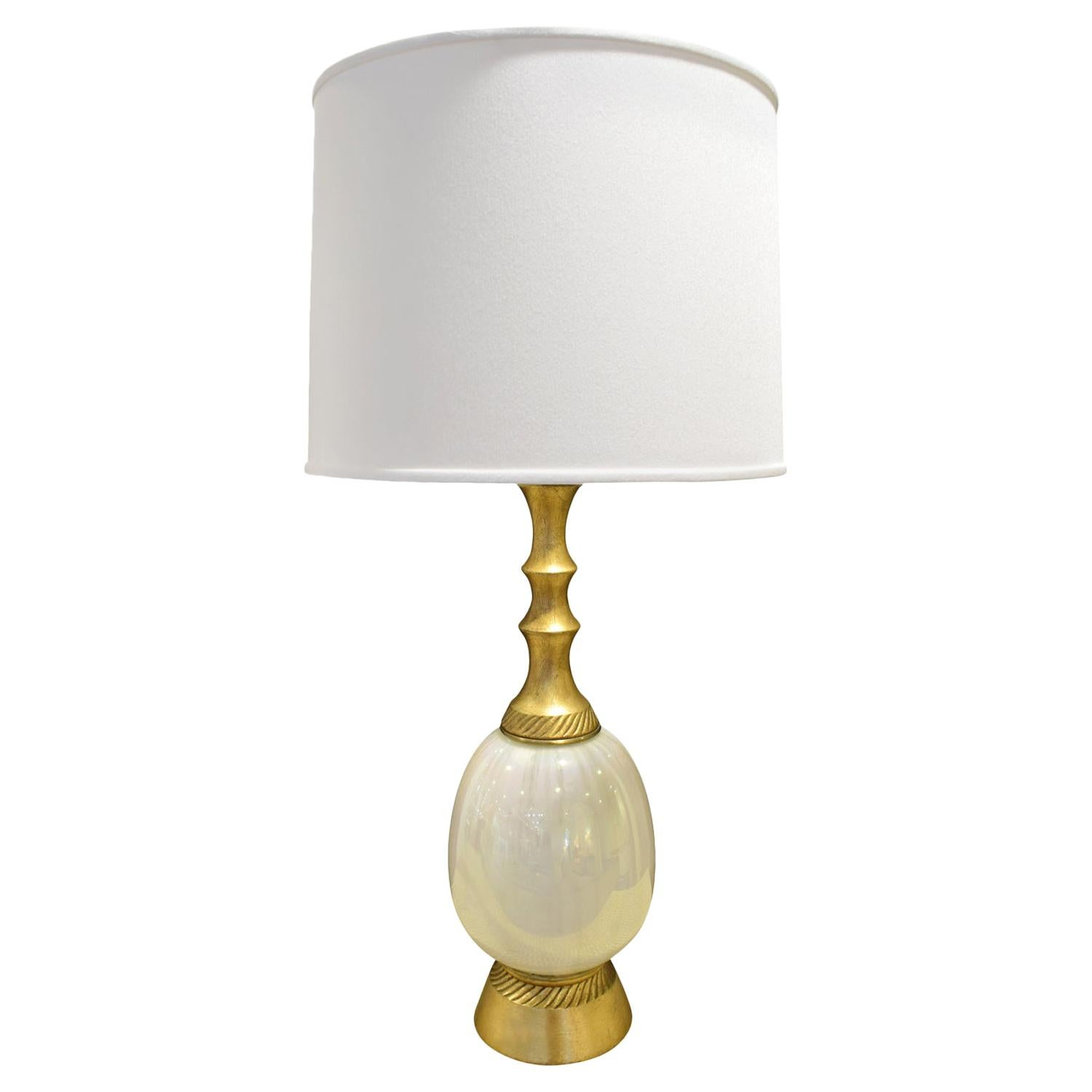 Elegant Table Lamp with Opaline Glass, 1950s 'Signed'