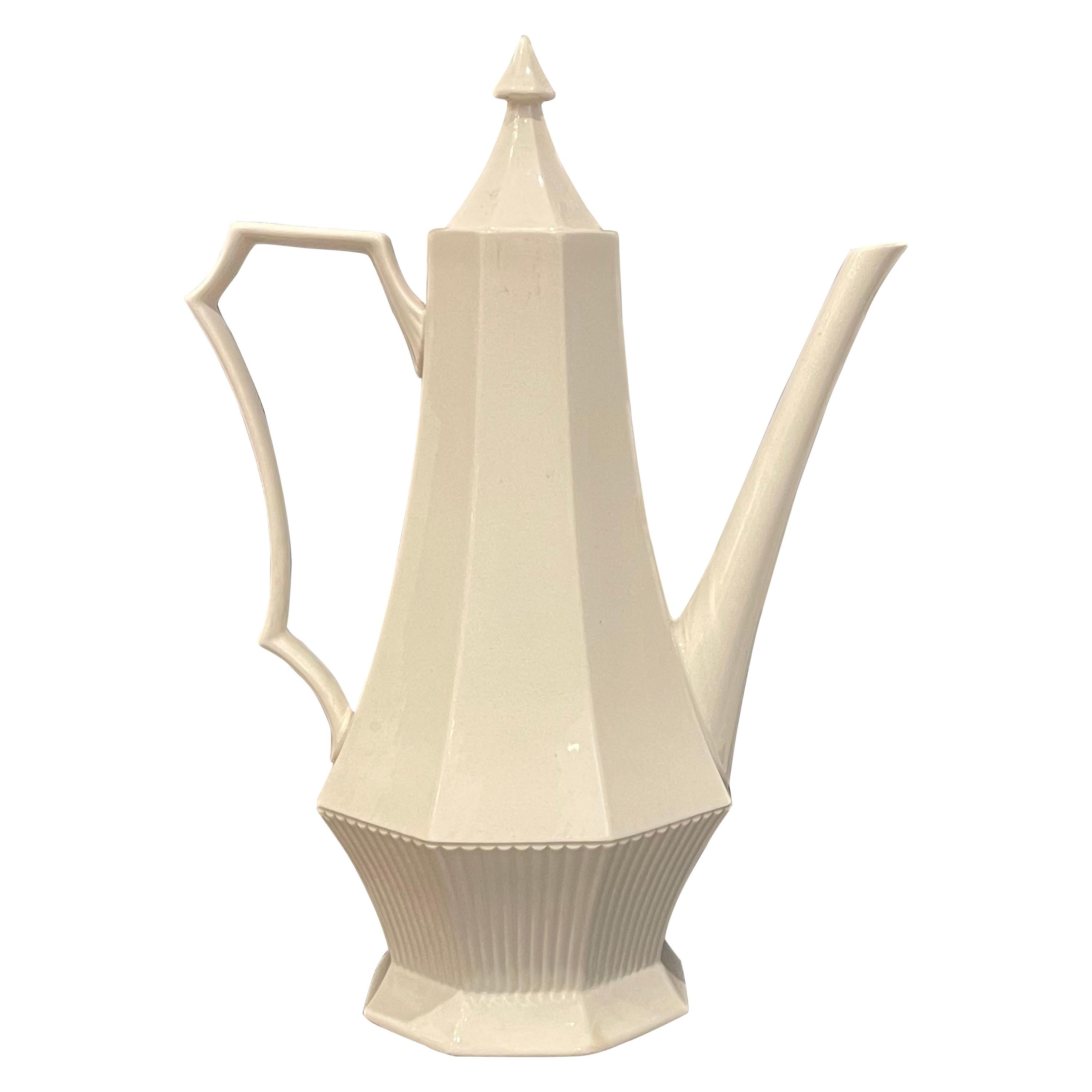 Elegant Tall White Porcelain Coffee Pot by Independence Ironstone