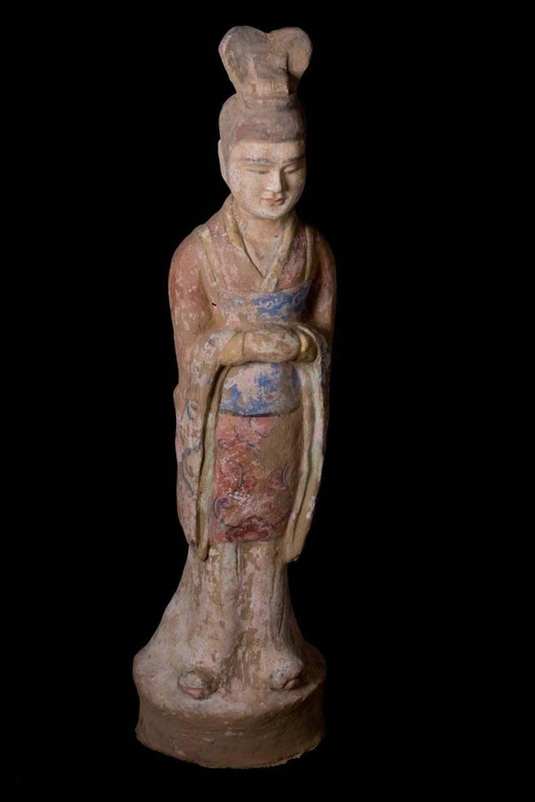 Chinese Elegant Tang Dynasty Dignitary in Orange Terracotta, China '618-907 AD' For Sale