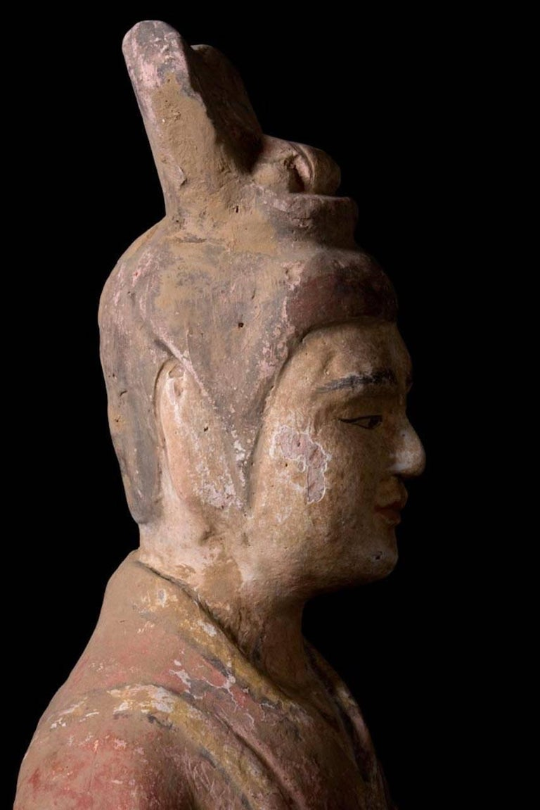18th Century and Earlier Elegant Tang Dynasty Dignitary in Orange Terracotta, China '618-907 AD' For Sale