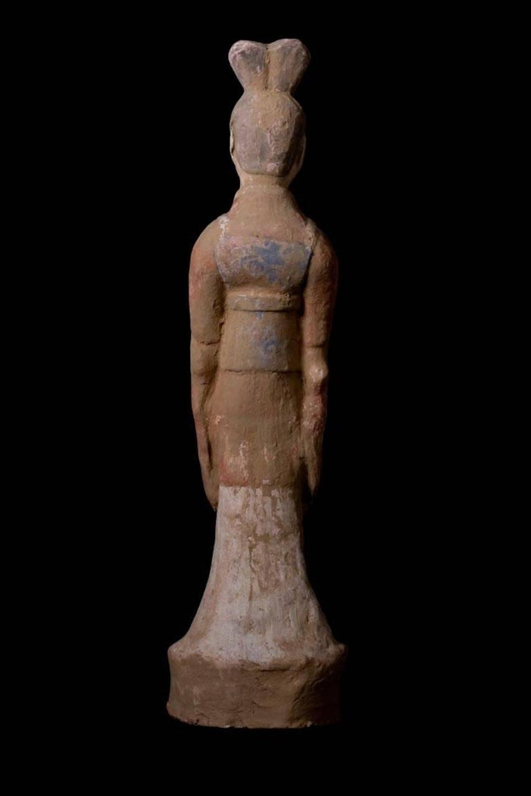 Elegant Tang Dynasty Dignitary in Orange Terracotta, China '618-907 AD' For Sale 1