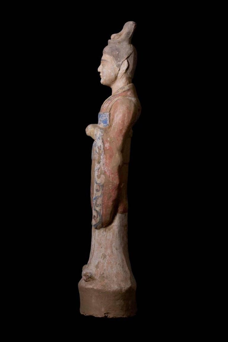 Elegant Tang Dynasty Dignitary in Orange Terracotta, China '618-907 AD' For Sale 2
