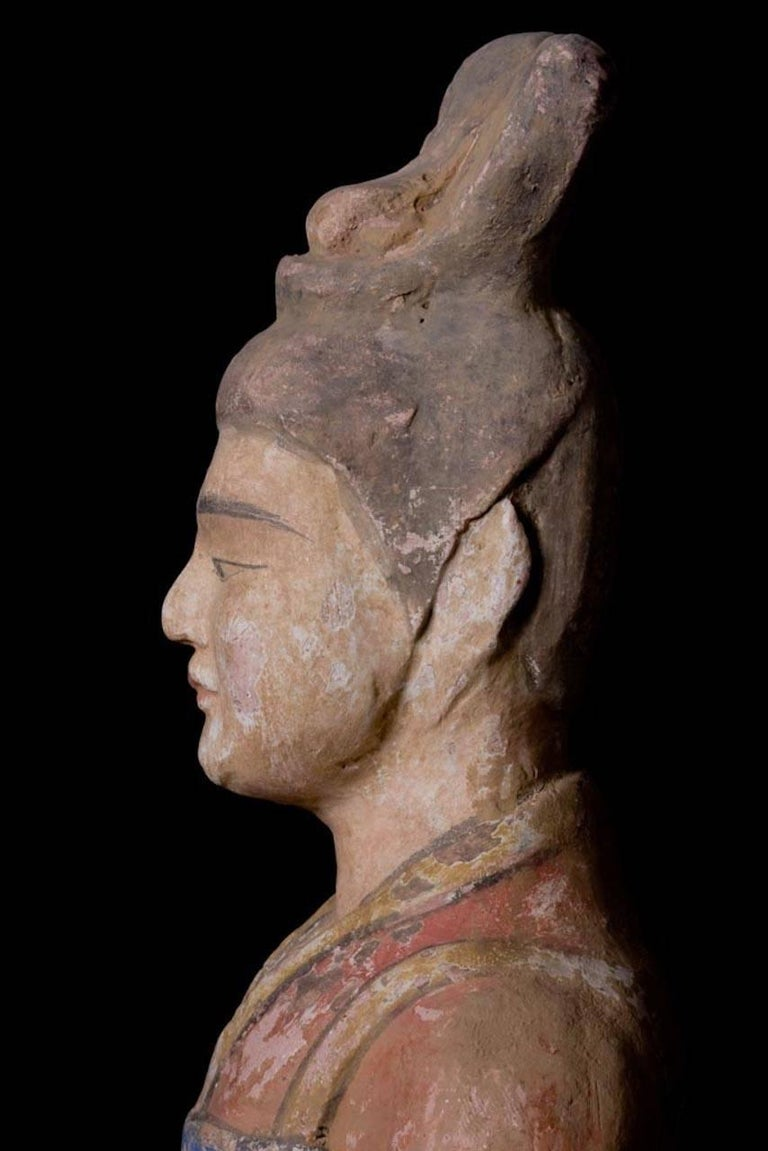 Elegant Tang Dynasty Dignitary in Orange Terracotta, China '618-907 AD' For Sale 3