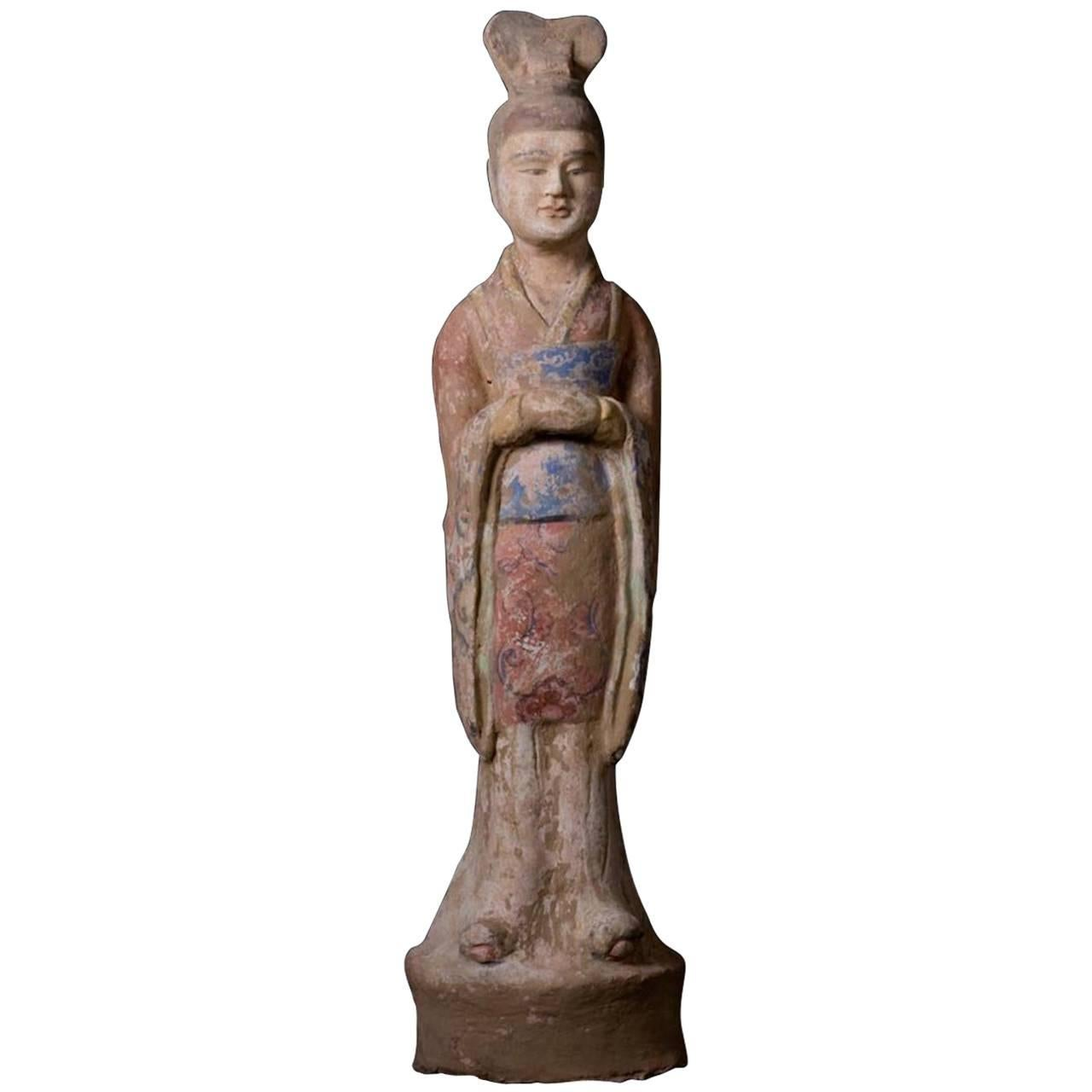 Elegant Tang Dynasty Dignitary in Orange Terracotta, China '618-907 AD'