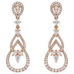 Elegant Teardrop Diamond Paved Earrings 1.95 Carat 18K Gold Chandelier Earrings