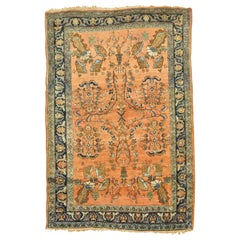 Elegant Terracotta Antique Mohajeran Persian Sarouk Rug