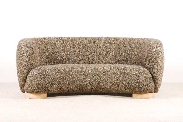 Scandinavian Modern Elegant Three-Seat Danish Curved Sofa from 1940s, New Upholstery For Sale