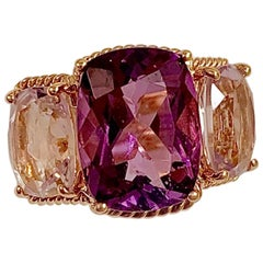 Elegant Three-Stone Amethyst Ring with Gold Rope Twist Border