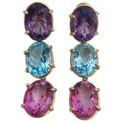Elegant Three-Stone Drop Earring with Amethyst and Blue Topaz and Pink Topaz