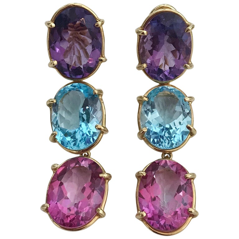 Elegant Three-Stone Drop Earring with Amethyst and Blue Topaz and Pink Topaz For Sale