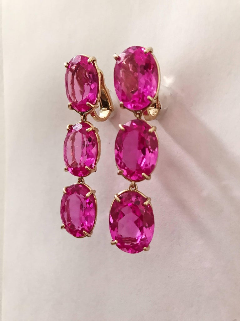 18kt Yellow Gold Elegant Three Stone Drop Earrings With Faceted Oval Hot Pink Topaz The