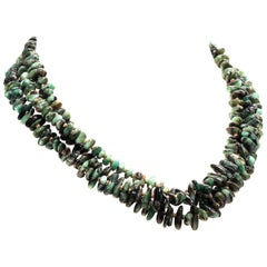 Elegant Three-Strand Necklace of Highly Polished Emerald Chips May Birthstone