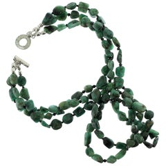 Gemjunky Elegant Three-Strand Polished Emerald Nugget and Black Spinel Necklace